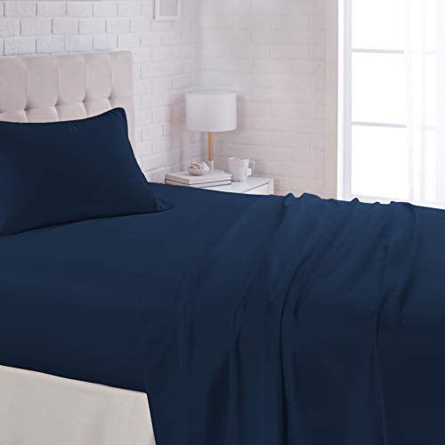 AmazonBasics Lightweight Super Soft Easy Care Microfiber Sheet Set with 16' Deep Pockets - Twin XL, Navy Blue