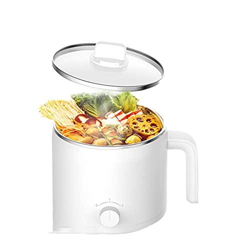 SFLRW Olla de fideos eléctricos, olla caliente eléctrica, olla de fideos rápidos, cocina eléctrica de 1.2L, mini vapor, cazuela antiadherente, adecuado para fideos, huevos, albóndigas, sopa, papilla