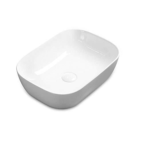 XJTNLB Modern Keramik Waschbecken Bad Rechteckig Aufsatzwaschtisch Handwaschbecken Klein Gaste Wc-ohne Wasserhahn_450X320X135MM-A