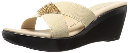 Athena Alexander Women's Carra Wedge Sandal, Beige Elastic, 11 M US