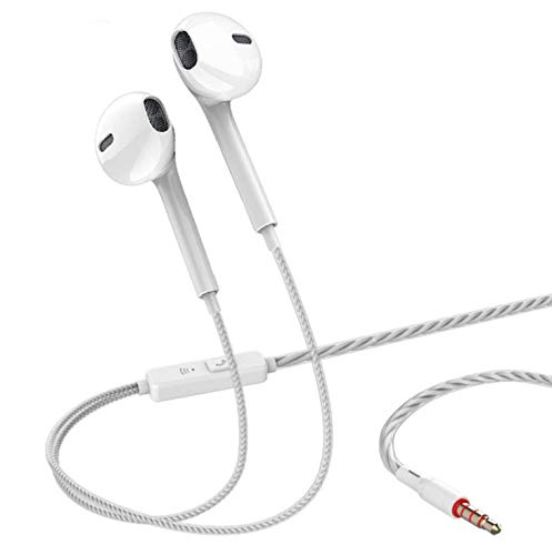 Quad-core Mobile Wired Headphones 3.5 Sport Earbuds with Bass Phone Earphone Wire Stereo Headset Mic Music Earphones (white)