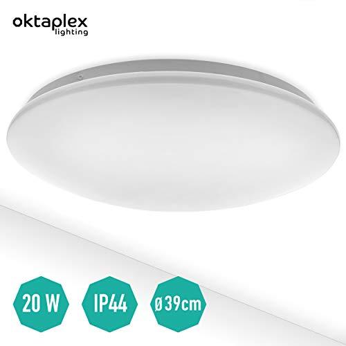 LED Deckenleuchte Como 20 W 3000 K warmweiß | große Deckenlampe 39 cm rund IP44 für Bad Küche Büro Treppenhaus Garage Keller Oktaplex Lighting