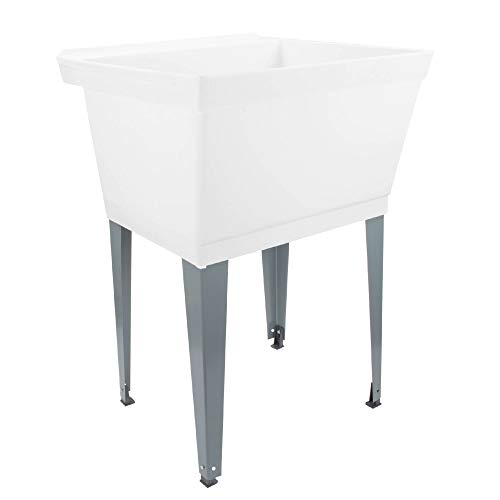 19 Gallon Laundry Utility Tub by Maya, White Heavy Duty Thermoplastic Basin, Adjustable Metal Legs, Everything Necessary For A Complete White Sink Installation (Faucet Not Included)