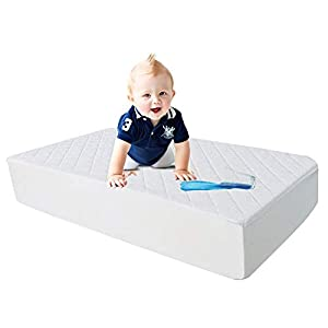 100% Waterproof Mini Size Quilted Fitted Crib Mattress Protector,Soft Breathable Organic Bamboo Baby Waterproof Mattress Pad, Vinyl Free Crib Mattress Cover for Stains Proof