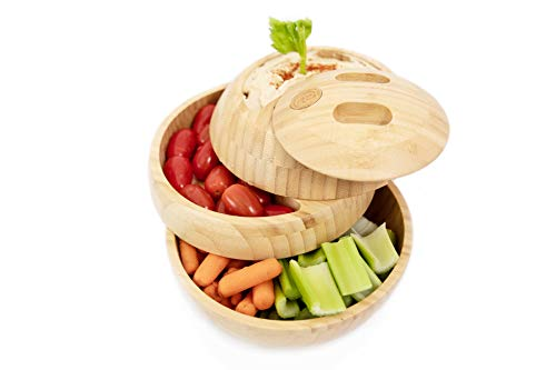 tappas All Natural Wood Container, Serving Tray, Bowls, Sustainable, Sphere (Bamboo)