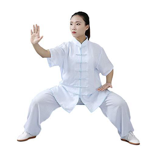 BBLAC 2KEY Tai Chi Abbigliamento | Unisex Kung Fu e Arti Marziali Uniforme | Wing Chun Uniforme in Cotone e Seta | Abbigliamento per Meditazione e Qigong (L,E)