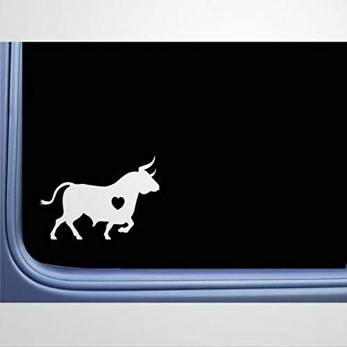 Calcomanía de vinilo para ventana, diseño de toro español, para coche, diseño de corazón