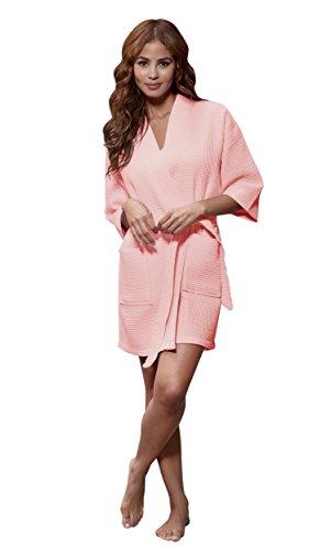 Lightweight Knee Length Waffle Kimono Bridesmaids Spa Robe (Small/Medium, Blush)