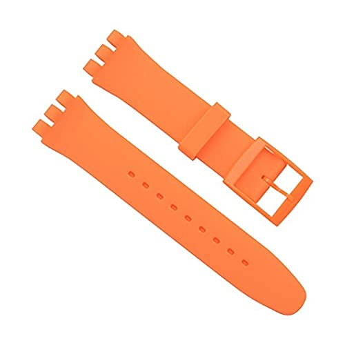 ZXC REEMPLAZO A Prueba de Agua Jelly Silicona Reloj de Goma Reloj de Reloj de Reloj Ajuste para Swatch 16mm 17mm 19mm 20 mm Accesorios de Reloj (Band Color : Orange, Band Width : 20mm)