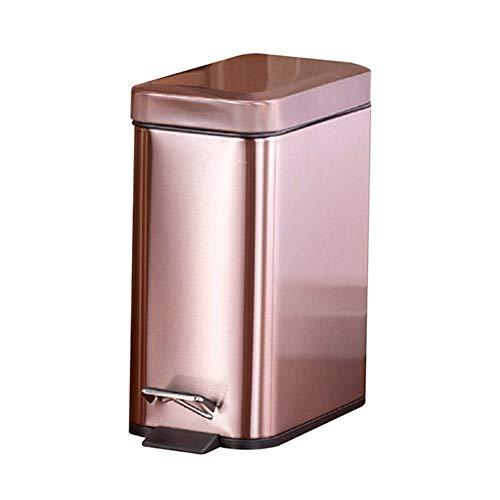 WBFN Papeleras, Pedal Papelera del hogar Puede silenciar Cocina de Acero Inoxidable Papelera con Liner TB Venta (Color : Rose Gold)