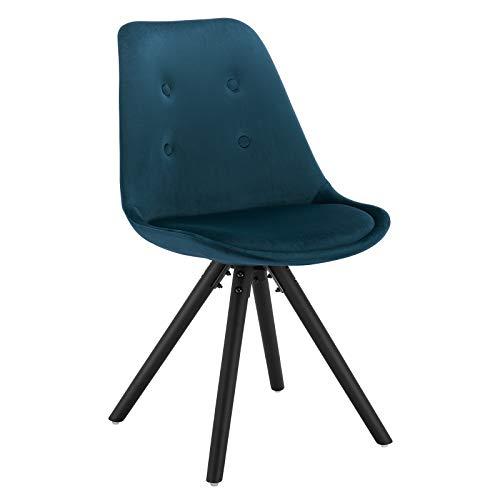 WOLTU® BH196bl-1 1 Stück Esszimmerstuhl, Sitzfläche aus Samt, Design Stuhl, Küchenstuhl, Holzgestell, Blau