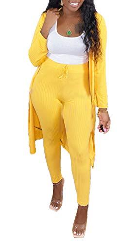 MESLIMA Rib-Knit Outfits for Womens Long Sleeve Cloak Long Tops and Tight Drawstring Long Pants 2 Piece Sets Yellow