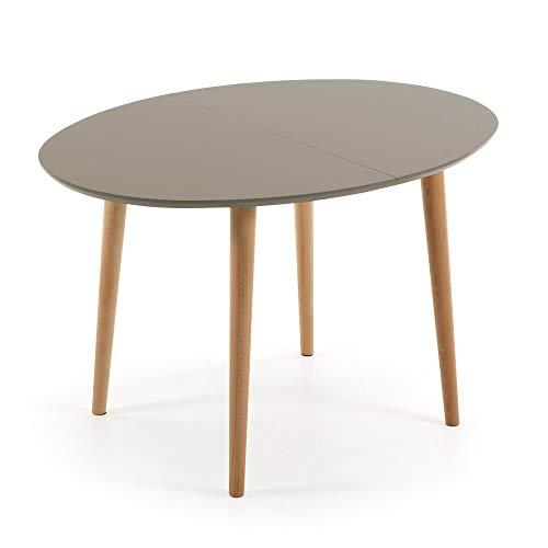 Kave Home - Mesa de Comedor Extensible Gris Oqui Ovalada 120 (200) x 90 cm de melamina y Madera de Haya