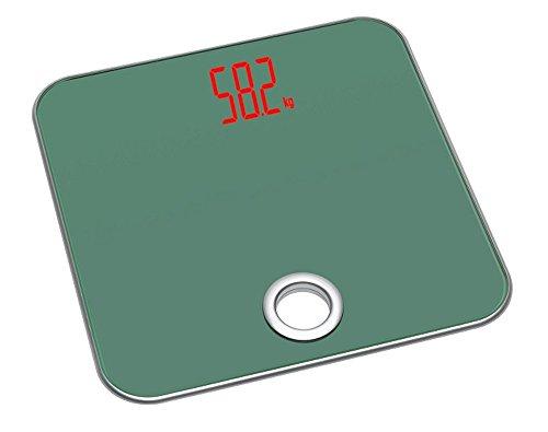 TFA Dostmann Salsa Personenwaage, 50.1000.04, digital, mit Trittfläche aus Glas, automatische Abschaltfunktion, unsichtbares Display, grün