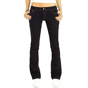 bestyledberlin Damen Bootcut Jeans schwarz