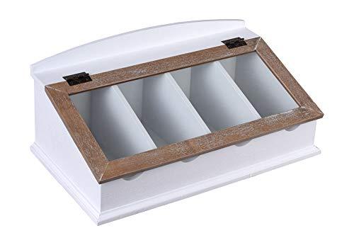 Besteckkiste Weiss Besteckkasten mit Glasdeckel Holzbox Besteckaufbewahrung HMA33 Palazzo Exklusiv