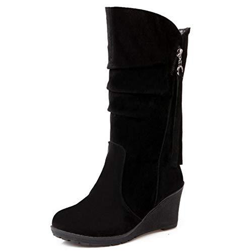 Onewus Damen Casual Keilstiefel mit mittlerer Wade (Schwarz, 37 EU)
