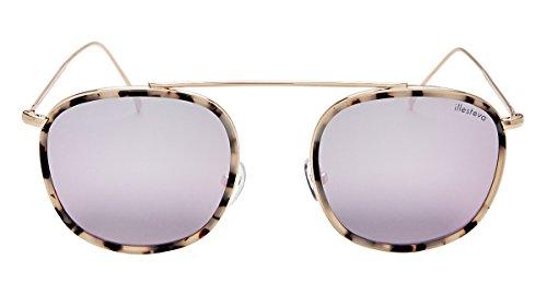 Illesteva Mykonos Ace Sonnenbrille, Pink (Weiße Schildkröte / Gold mit heller Rose flach), Einheitsgröße