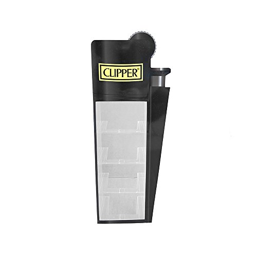 Expositor Clipper con forma de mechero. Vitrina para mecheros de plexiglás. Negra