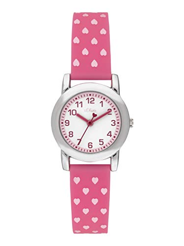 s.Oliver Mädchen Analog Quarz Uhr mit Silikon Armband SO-3916-PQ