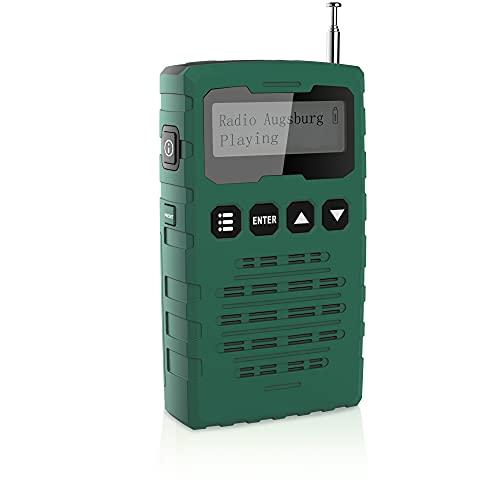 Radio Pequeña Dab/Dab + / FM, Radio Portátil Que Funciona con 3 Baterías AAA, Radio de Bolsillo con Pantalla LCD, Reloj Despertador Doble, Temporizador de Apagado (Verde)