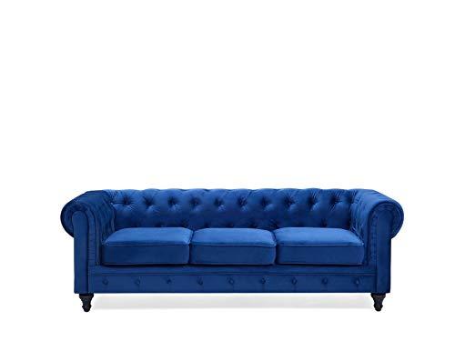 Beliani - Canapé 3 Places - Chesterfield - Tissu, Bleu Cobalt