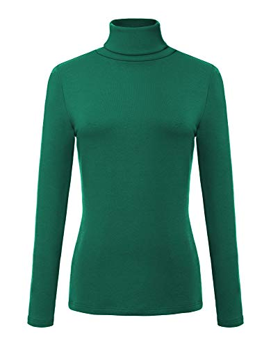 Urban CoCo Women's Solid Turtleneck Long Sleeve Sweatshirt (XL, Dark Green)