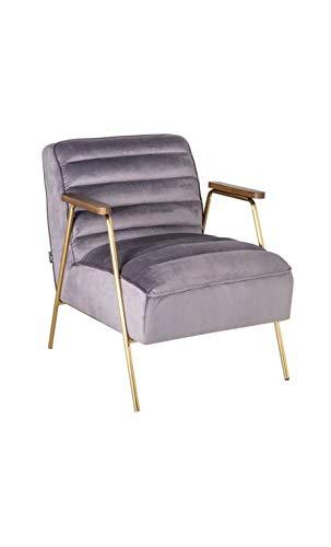CAMINO A CASA - Sillón de tela gris con detalles de madera y oro Beverly Hills