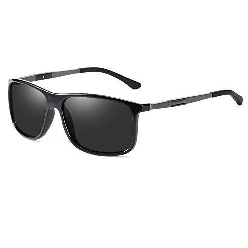 NJJX Gafas De Sol Hombre Gafas De Sol Polarizadas Montura Cuadrada Revestimiento De Espejo Gafas De Sol Niñas Blackgungrey