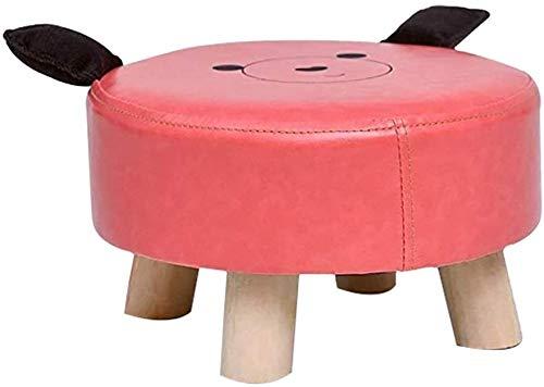 JUIO Ronda Escabel otomana, PU Tela Marco de Madera Lindo Característica Animal de la Historieta del hogar reposapiés for niños (Color : Pink)