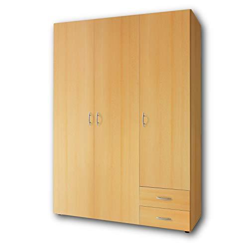 BASE Zeitloser Kleiderschrank in drei verschiedenen Größen - Vielseitiger Drehtürenschrank in Buche Optik - 120 x 177 x 52 cm (B/H/T)