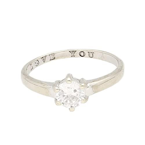 Anillo solitario de oro blanco de 9 quilates con diamantes de imitación 'I Love You' (tamaño T)cabeza de 6 mm | Anillo de lujo para mujer