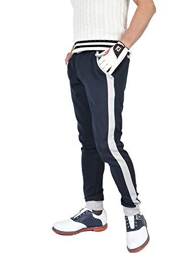 【コモンゴルフ】 COMON GOLF メンズ ストレッチ ポンチ素材 ライン入り ゴルフ用 ジョガー パンツ CG-21001ST 2XL ネイビー