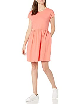 Amazon Brand - Goodthreads Women s Relaxed-Fit Heavyweight Cotton Slub Short Sleeve High Waist Dress Georgia Peach Large