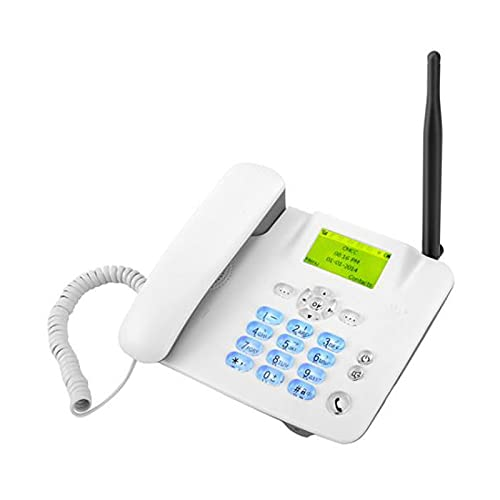 Teléfono De Escritorio Clásico Cuatribanda GSM, Teléfono Fijo Para El Hogar, Visualización De Fecha Y Hora, Manos Libres, Teléfono De Escritorio GSM Para Empresas, Teléfono Con Tarjeta SIM, Blanco