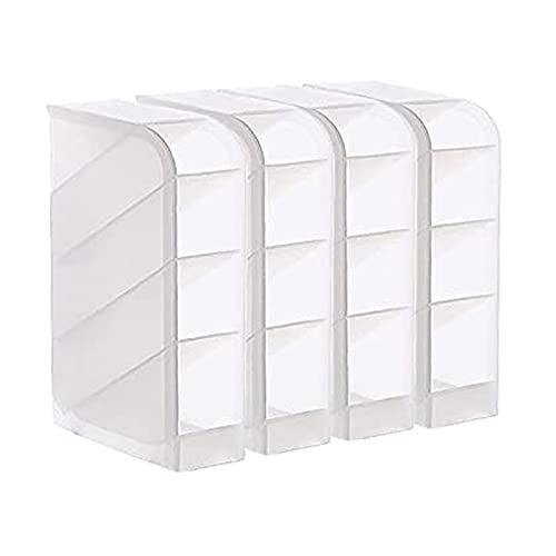 4 Pcs Caja de Almacenamiento Transparente para Portalápices, Portalápices Multifuncional Blanco, Portalápices Transparente Simple Multifuncional, for Office, School, Household Supplies