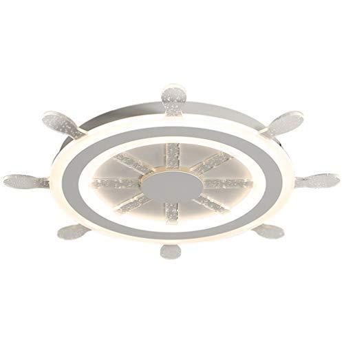 Lámpara de dormitorio Lámpara de timón de dibujos animados Barcos Niño Lámpara de techo para niños Lámpara de techo Pantalla creativa Burbuja de cristal Decorativo para niños 32W, regulable