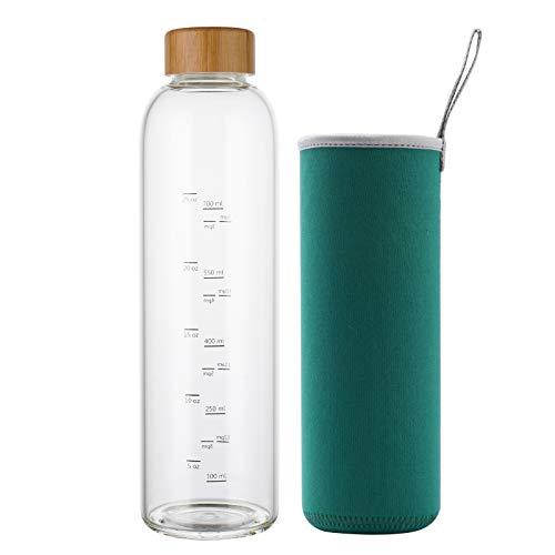 Botella de Agua Cristal 1 Litro con Marcador de Tiempo Funda y Tapa de Bambú Reutilizable para Deportes, Gimnasio, viajes, sin Bpa (Verde)