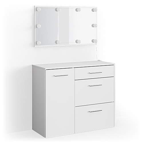 Vicco Schminktisch Klara weiß inkl Spiegel Sitzbank Schminkkommode Frisiertisch (Schminktisch + LED)