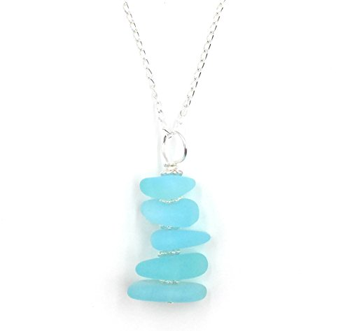 Gorgeous Sea Foam Blue Sea Glass Stacked Pendant Necklace on Sterling Silver Chain by Aimee Tresor Jewelry
