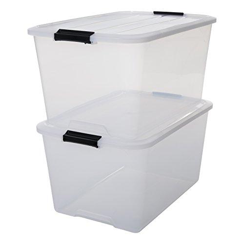 IRIS, 2er-Set stapelbare Aufbewahrungsboxen 'Top Box', mit Deckel und Klickverschluss, 45 Liter, Kunststoff / Plastik, transparent