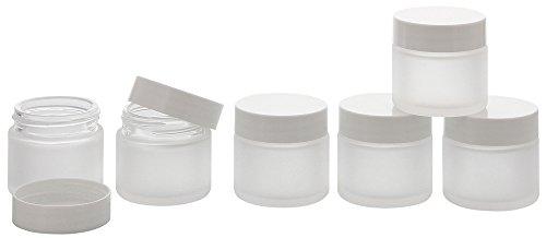 Matt Glas-Tiegel 30 ml m. Deckel, Leere Kosmetex Glas Creme-Dose, Kosmetik-Dose, 6× 30 ml Mattglas Weiß Deckel