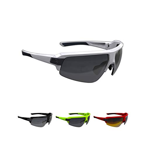 BBB Cycling Fahrradbrille Impulse | Herren und Damen Sportbrille Sonnenbrille Radsport | mit drei Wechselgläsern | Polycarbonat Grilamid | MTB Rennrad Urban | Glänzend Weiß | BSG-62