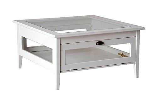 Table de salon en bois massif laqué blanc avec verre et rabat. Classique et moderne