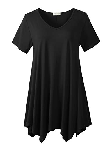 LARACE Womens V Neck T Shirts Casual Loose Fit Short Sleeve Tunic Plus Size Tops for Leggings(Black 1X)