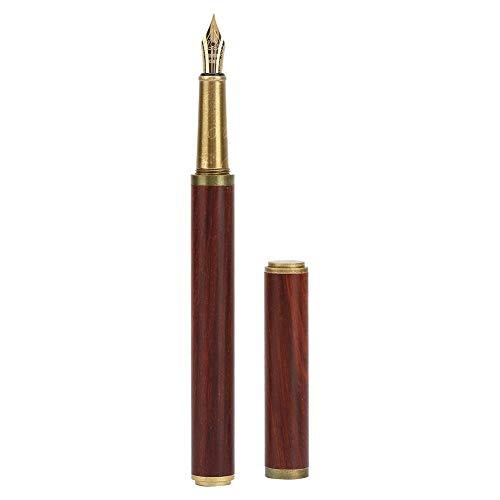 Penna stilografica Penna per scrittura in legno di sandalo rosso per una scrittura elegante e liscia, pennino medio, design classico, articoli da regalo per studenti