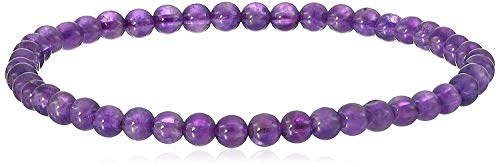 4 mm Smooth Round Amethyst Stretch Bracelet, 6.5'