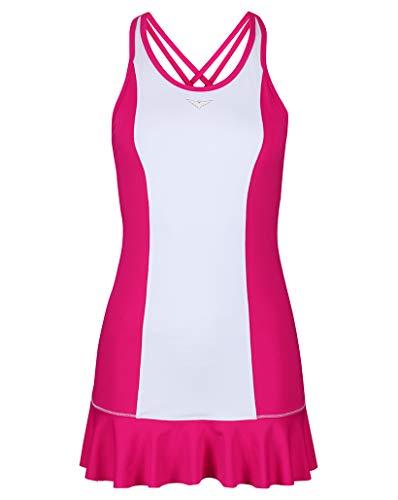 Bace Tenniskleid für Mädchen, Rosa/Weiß, mit Rüschenrock, Farbblock-Design M Rose