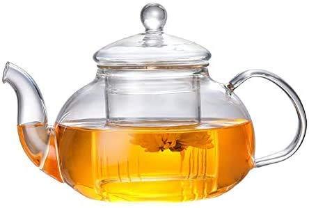 ALEECYN Teiera in Vetro con infusore in Vetro Resistente al Calore, con infusore Rimovibile, in Vetro borosilicato Trasparente, per tè e Foglie in Fiore, teiere de thé avec filtre (800ML)