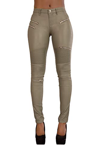 Crazy Lover Damen Kunstleder Leder Look Hosen Damen Biker Stretch Coated Jeans (40, Khaki)